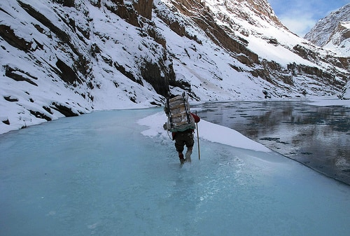 ading Through Ankle-Deep Water on the Chadar Trek